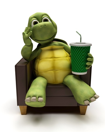 3D Render of a Tortoise relexing in armchair drinking a soda photo