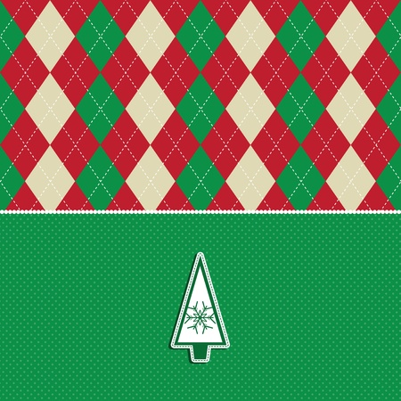 Christmas background with an argyle pattern and tree design photo
