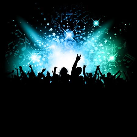 Silhouette of an excited crowd on a music notes background photo