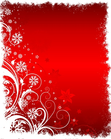 holiday season: Decorative floral Christmas background with snowflakes