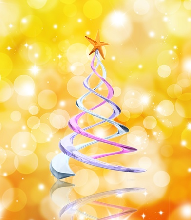 Abstract Christmas tree on a golden lights background Stock Photo - 10965221