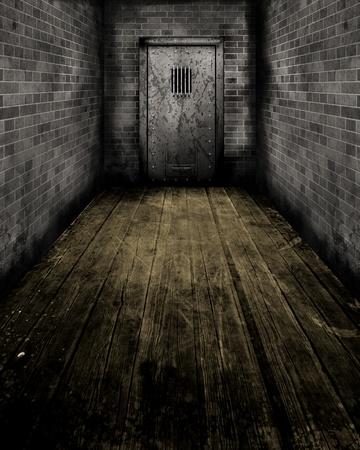 penitenciaria: Imagen de estilo grunge de pasillo que conduce a una antigua puerta de la cárcel