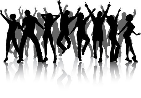 Silhouettes of lots of people dancing Stock Photo