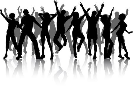 chicas bailando: Siluetas de un mont�n de gente bailando Foto de archivo