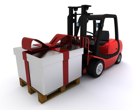 3D Render of a Forklift truck with christmas gift box