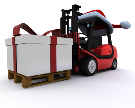 3D Render of a Forklift truck with christmas gift box photo