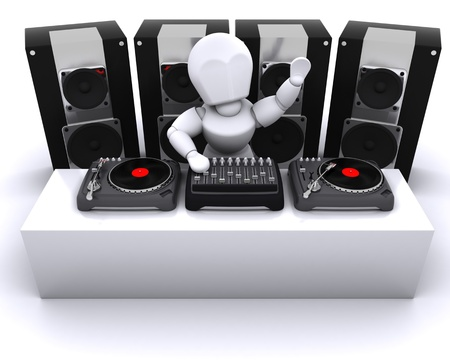 3D render of a DJ mixing records on turntables photo
