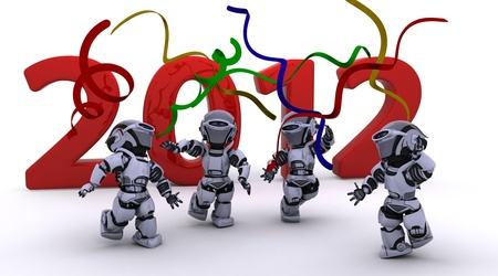 3D render of a Robot Bringing the new year in Stock Photo - 11076798