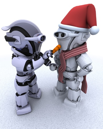 3D render of a robot building a snowman photo