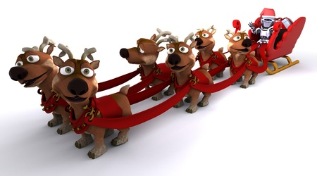 3D render of a Robot withsleigh and reindeer Stock Photo - 11076800