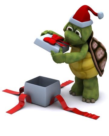 3D render of a tortoise santa character photo