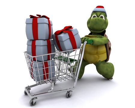 trolly: 3D render of a tortoise santa character
