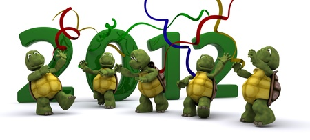 3D render of a Tortoises Bringing the new year in photo