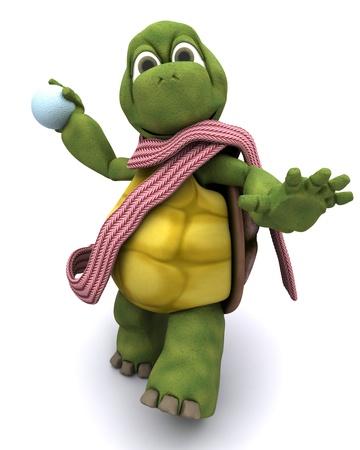 palle di neve: 3D rendering di una tartaruga lanciare una palla di neve Archivio Fotografico