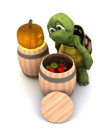 3d render of a tortoise bobbing for apples photo