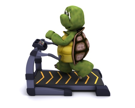 3d render of a tortoise running on a treadmill Stock Photo - 11076784