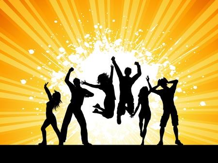 meisje silhouet: Silhouetten van mensen dansen op een grunge starburst achtergrond Stockfoto