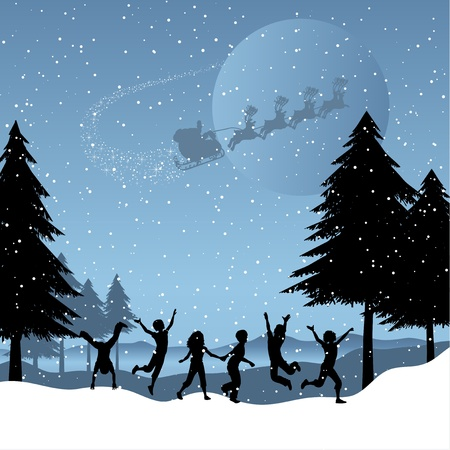 Silhouettes of children playing in the snow with santa flying in the sky photo