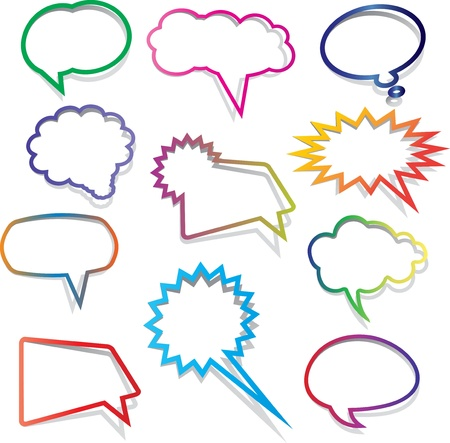 thought bubbles: Collection of brightly coloured speech bubbles with shadows Stock Photo