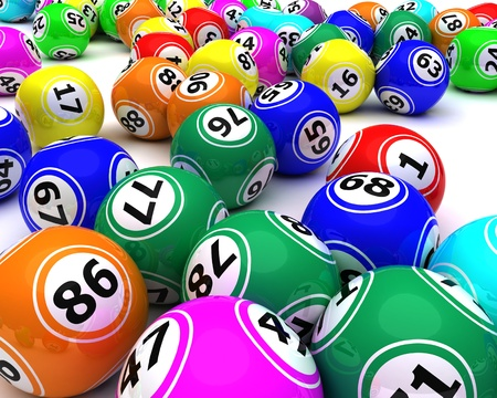 bingo: 3D render de un conjunto de colouored bolas del bingo