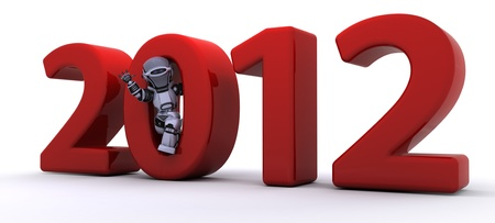 3D render of a Robot Bringing the new year in Stock Photo - 11263847