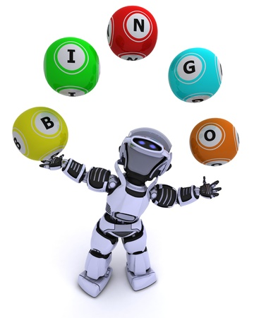 3d render of a robot with bingo balls photo