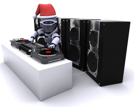 chrome man: 3D render of a Robot  DJ mixing records on turntables Stock Photo
