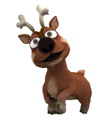 caribou: 3D Render of a cute reindeer charicature