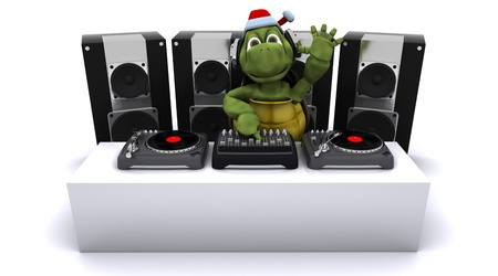 3D render of a Christmas tortoise DJ mixing records on turntables Stock Photo - 11263855