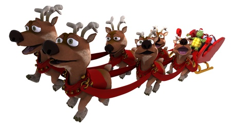 3d render of a tortoise santa with sleigh and reindeer photo
