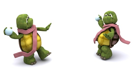 palle di neve: 3D rendering di tartarughe con una battaglia a palle di neve Archivio Fotografico