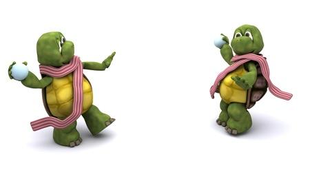 boule de neige: Rendu 3D de tortues ayant un combat de boules de neige