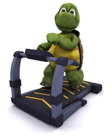 3d render of a tortoise running on a treadmill Stock Photo - 11263852