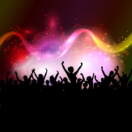 Silhouette of an excited audience on a colourful music notes background photo