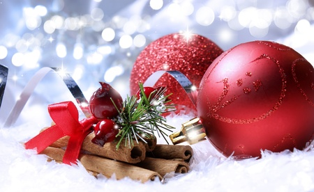 Christmas decorations on a background of bokeh lights and stars photo