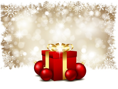Christmas snowflake background with a gift and baubles Stock Photo - 11263859
