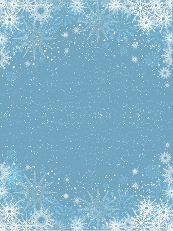 Decorative Christmas background of a snowflake border