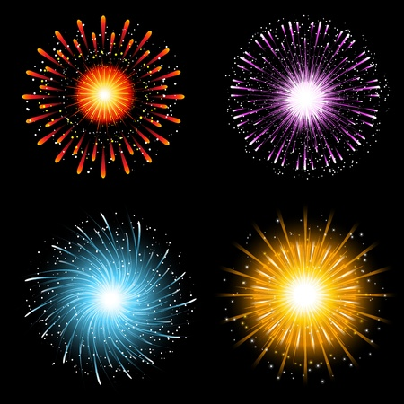 A collection of four brightly coloured firework explosions Stock Photo - 11263868