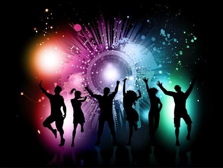 silueta masculina: Siluetas de personas bailando sobre un fondo grunge colorido Foto de archivo