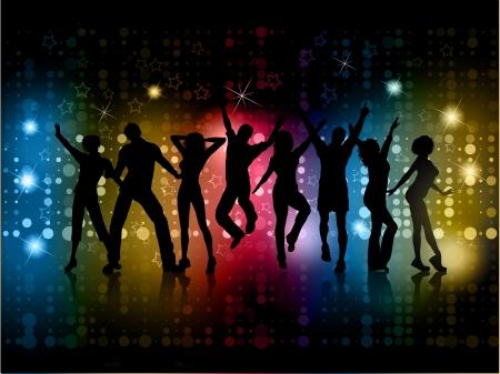 Siluetas de personas bailando sobre un fondo abstracto con luces brillantes y las estrellas