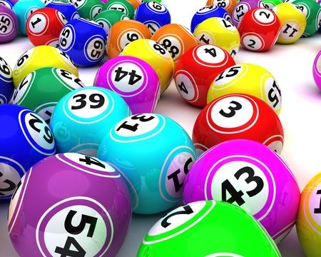 bingo: 3D render de un conjunto de bolas de bingo colouored Foto de archivo