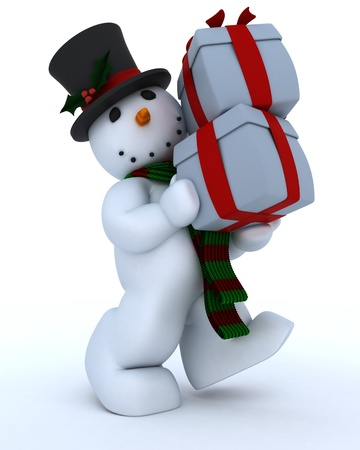 3D Remder of a Snowman in hat and scarf photo