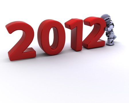 3D render of a Robot Bringing the new year in Stock Photo - 11331352