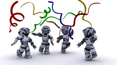 3D render of a Robots celebrating at a party Stock Photo - 11331379