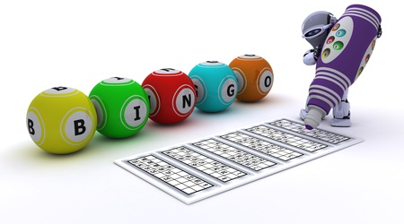 bingo: 3d render of a robot playing bingo