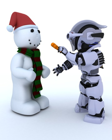 3D render of Robot building a snowman photo