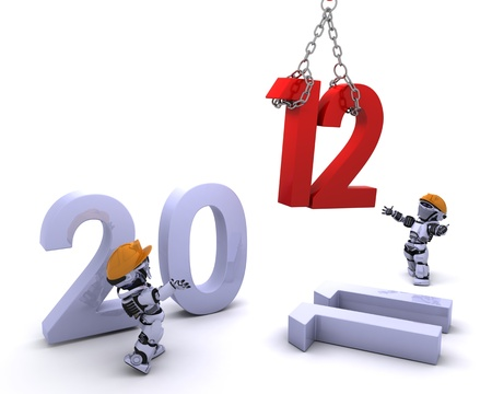 3D render of a Robot Bringing the new year in photo
