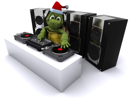 3D render of a christmas tortoise DJ mixing records on turntables photo