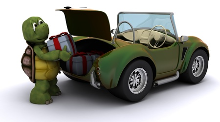 3D render of Tortoise loading christmas gift into a car photo