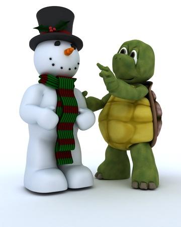 3D render of Tortoise building a snowman photo